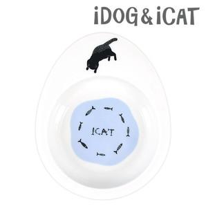 IDOG&ICAT オリジナル ドゥーエッグフードボウル浅皿 猫とみずたまり