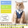 iCat 猫用コンフォートハーネス リード付き おすまし襟ギンガムチェック アイドッグ【卸 猫用品】